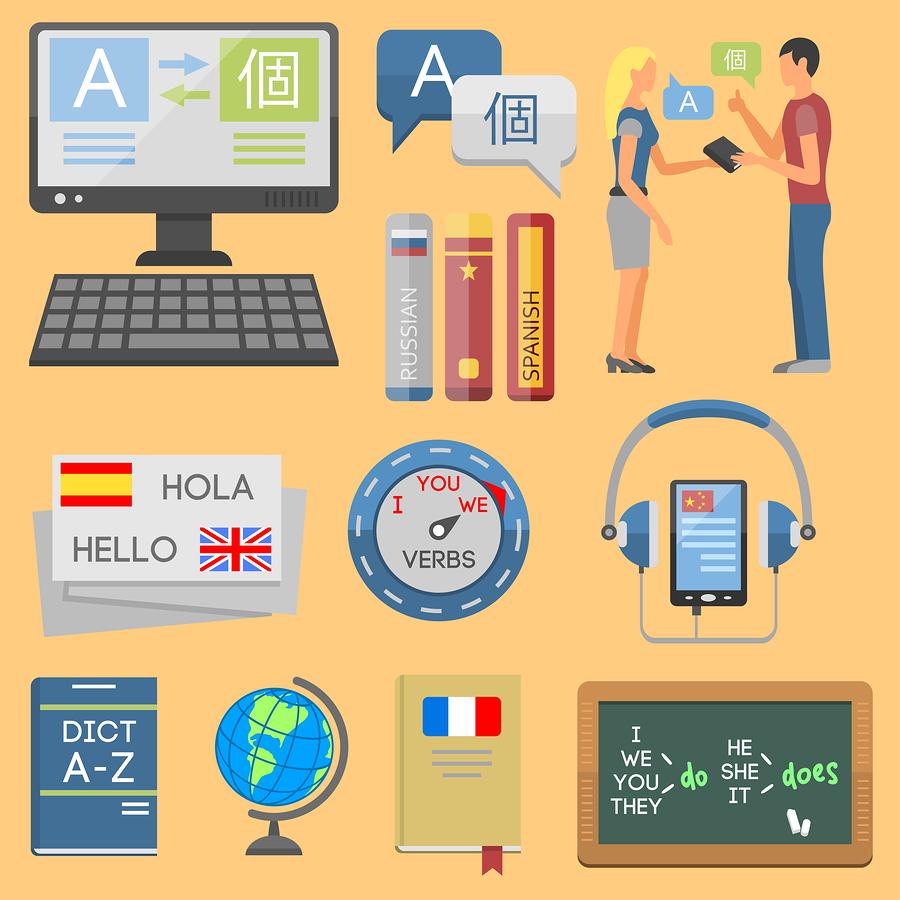 language learning method icons