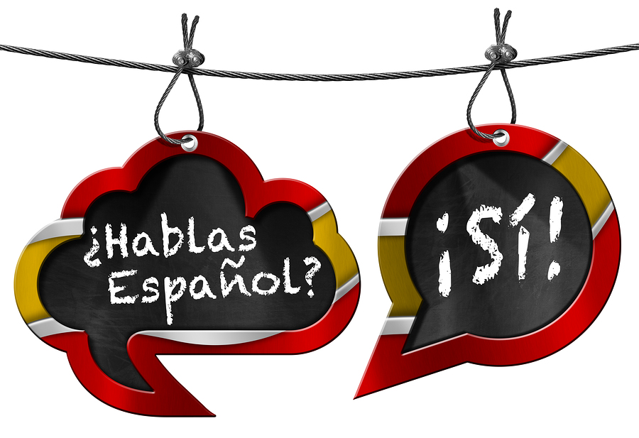 Hablas espanol speech bubbles