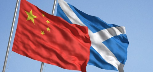 China and Scotland flags