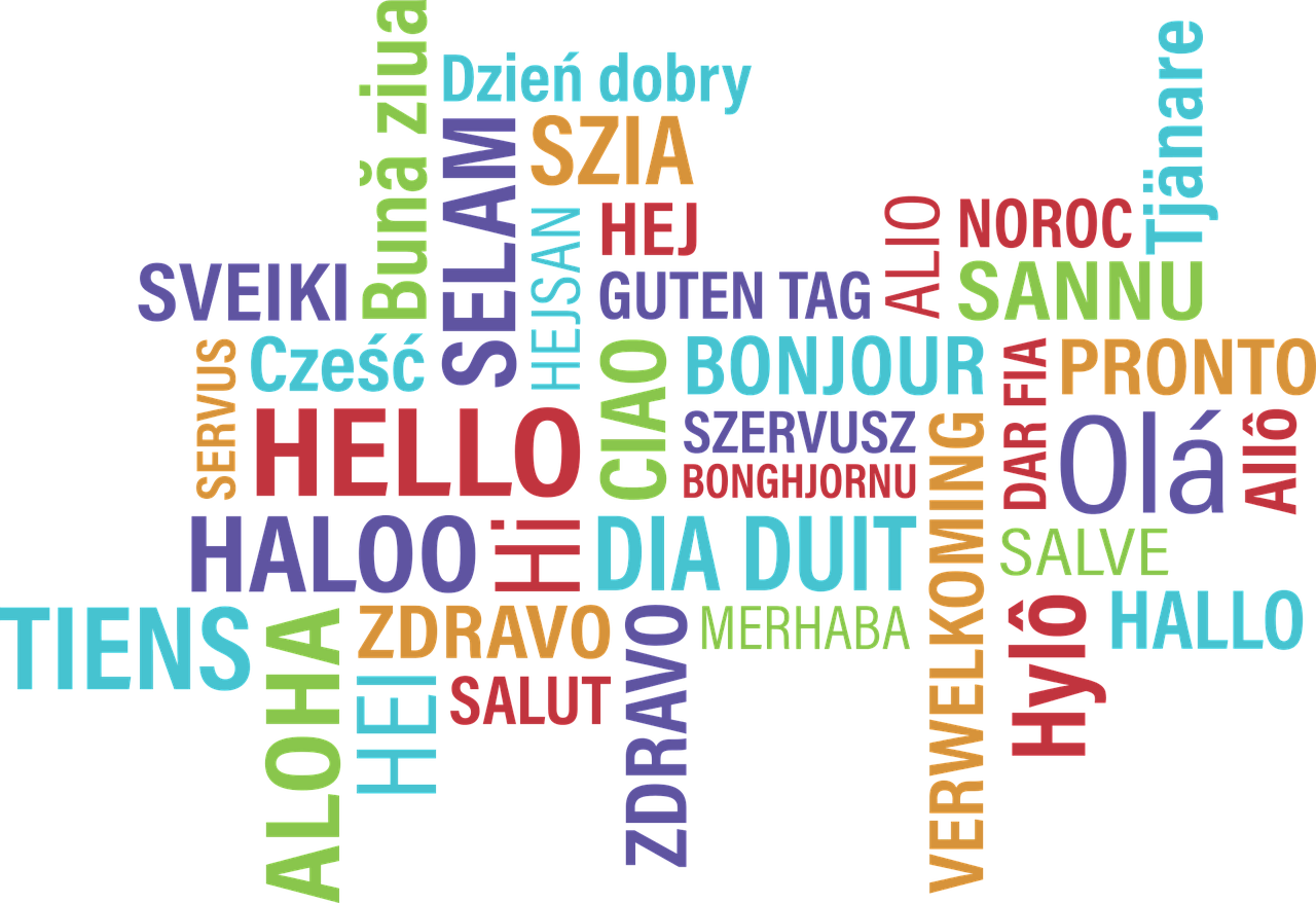 Hello wordcloud in different languages