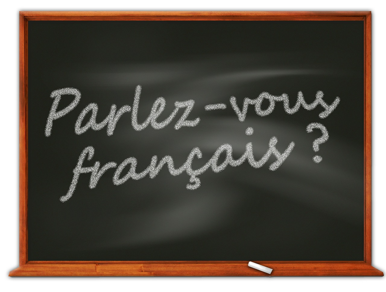 parlez vous francais written on blackboard