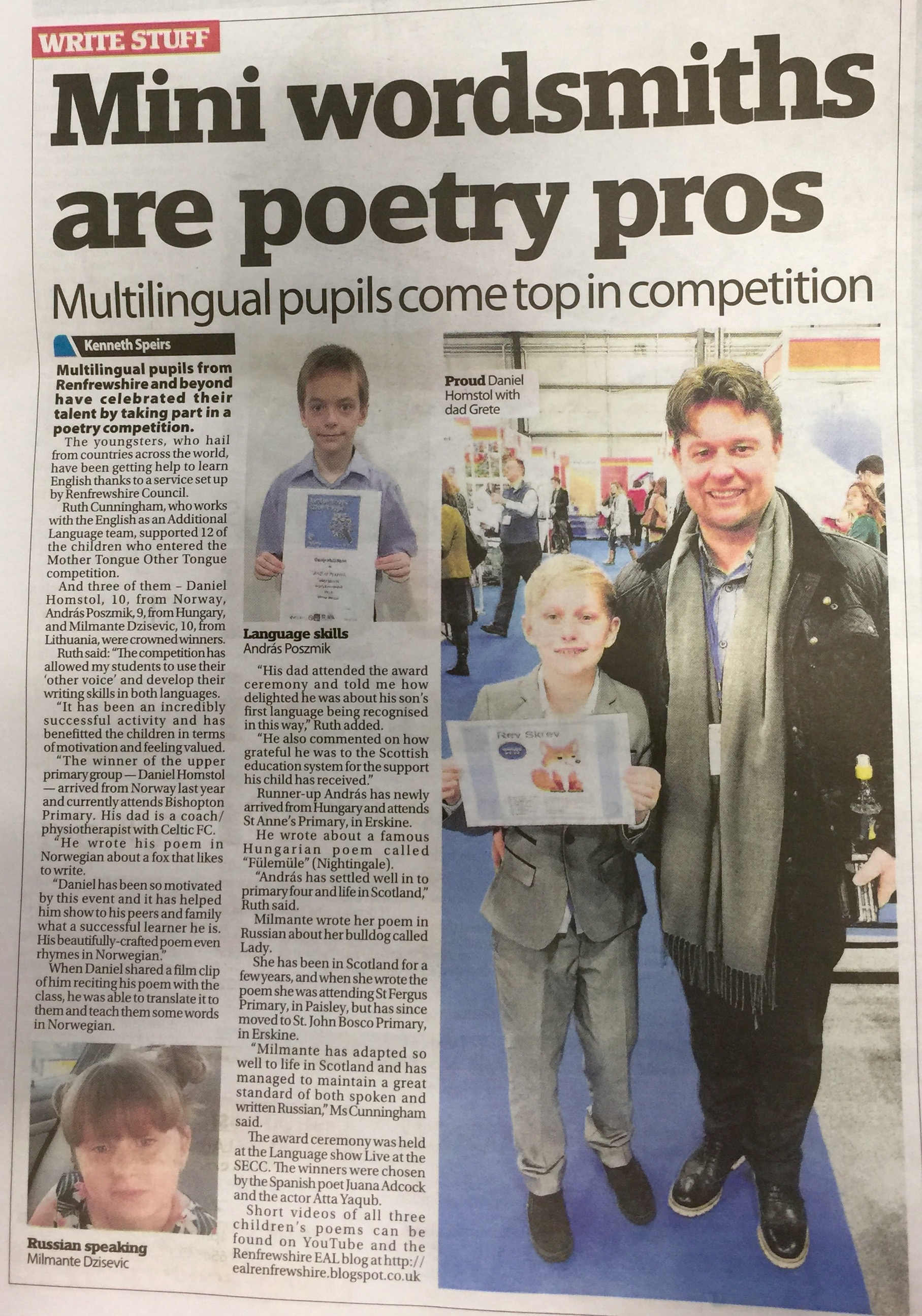 Mini wordsmiths are poetry pros - Paisley Daily Express 19-03-16