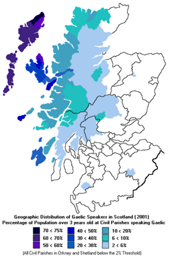 map of Gaelic speakers in Scotland
